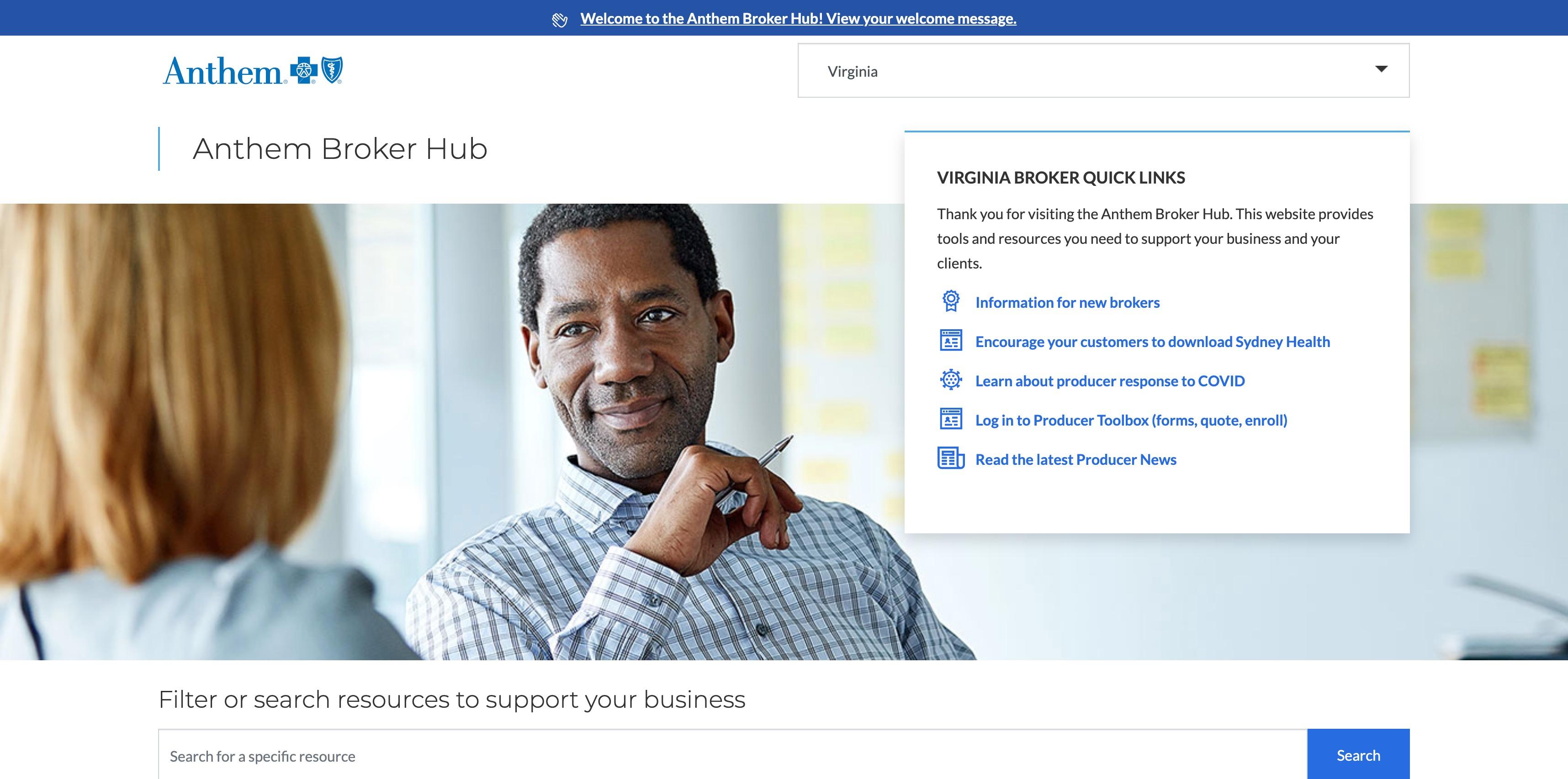 Broker Hub homepage